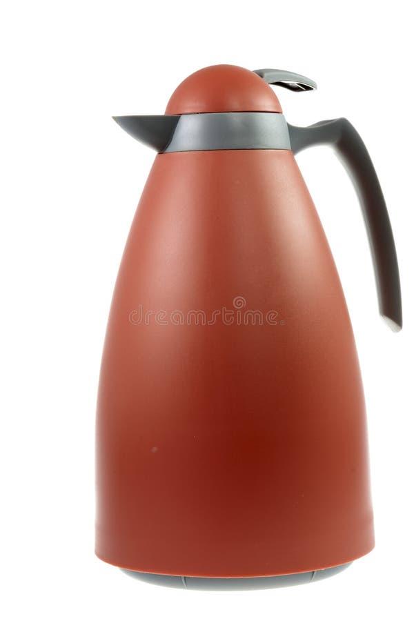 Thermos Flask. Isolated orange plastic thermos flask stock photos