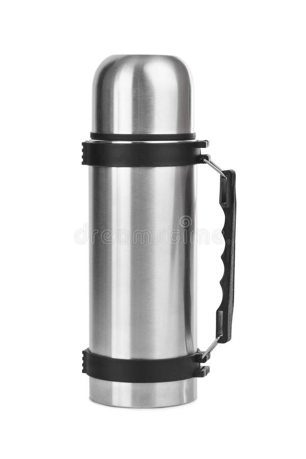 Thermos flask. Isolated on white background stock images