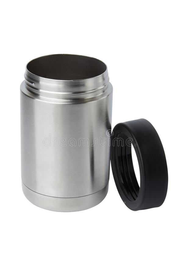 Thermos mug with opened cup isolated on white background stock photography