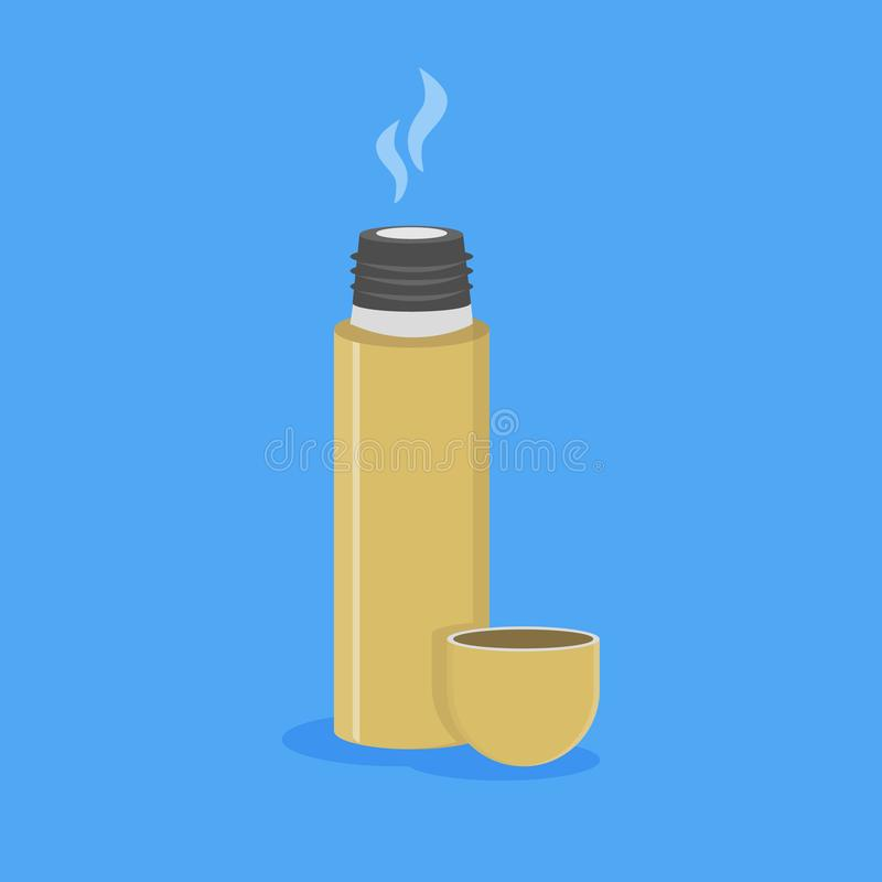 Thermos ouvert avec la boisson chaude illustration stock