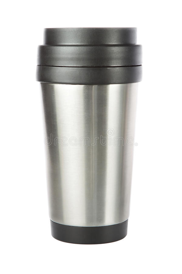 Thermos travel tumbler, cup. On a white background royalty free stock image