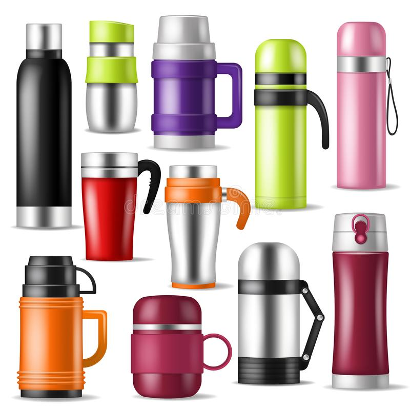 Thermos vector vacuum flask or bottle with hot drink coffee or tea illustration set of metal bottled container or royalty free illustration