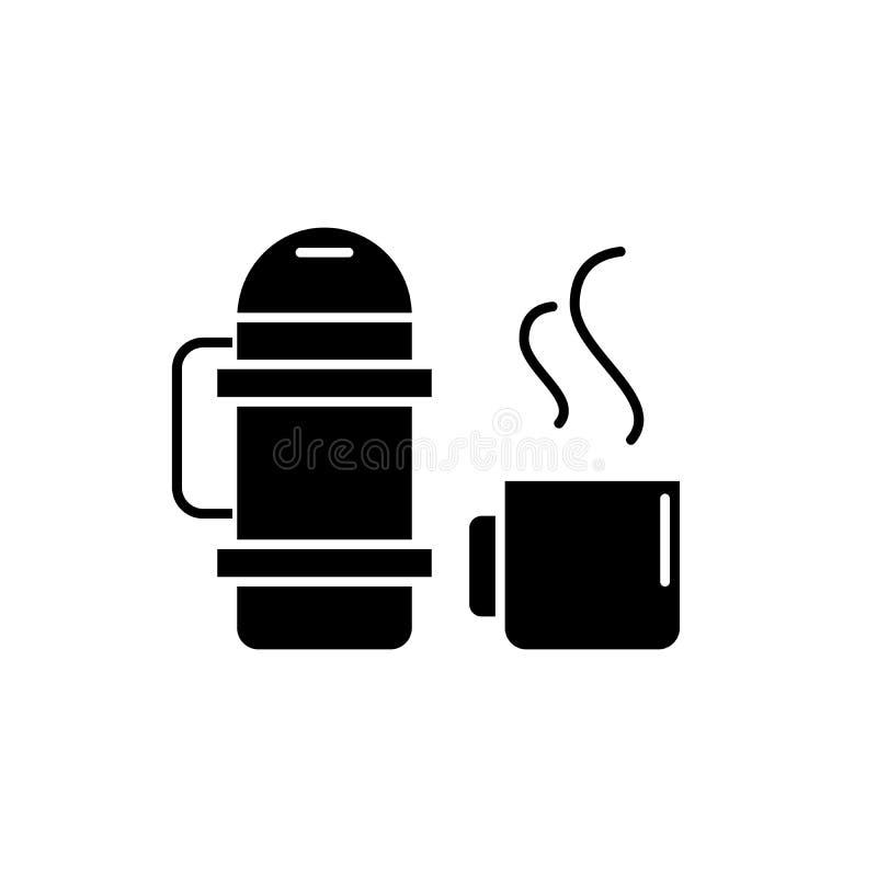 Thermosflessen en mok zwart pictogram, vectorteken op geïsoleerde achtergrond Thermosflessen en mokconceptensymbool, illustratie vector illustratie