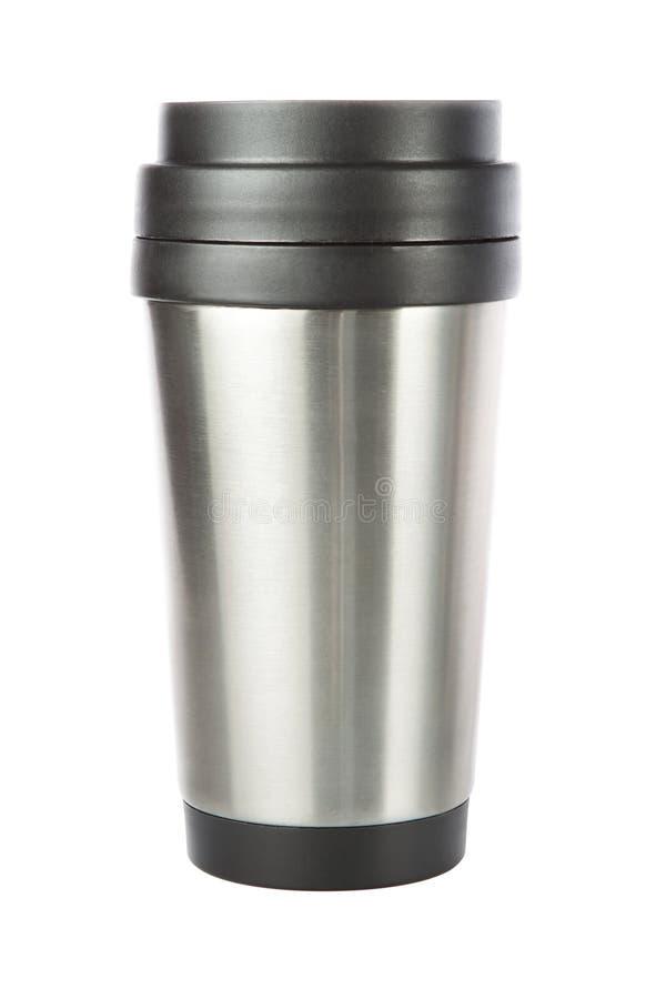 Thermosreisentrommel, Cup. Auf einem weißen Hintergrund lizenzfreies stockbild