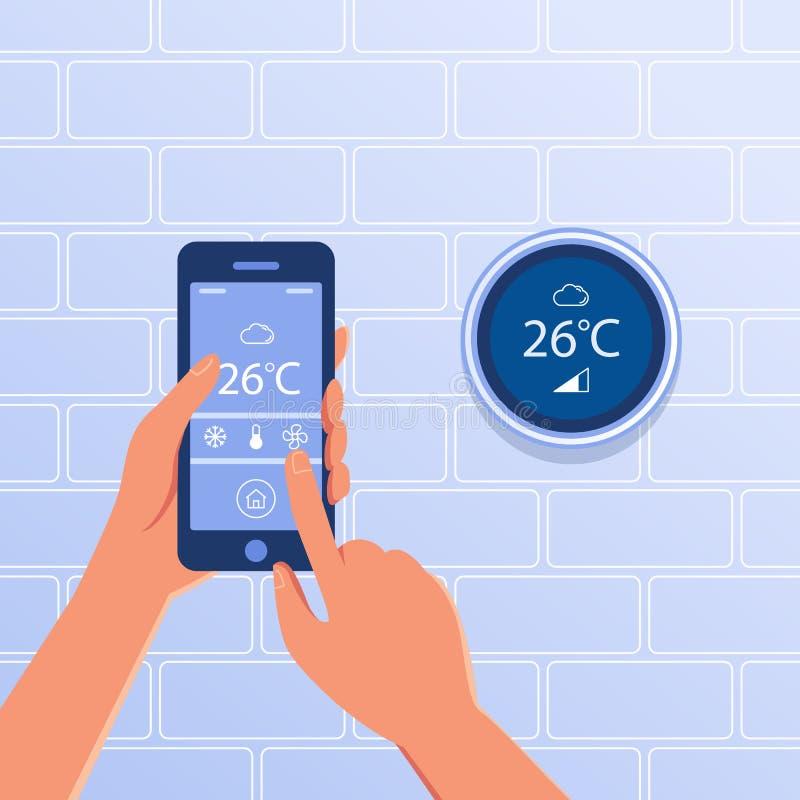 Thermostat intelligent en tant que concept à la maison futé illustration de vecteur