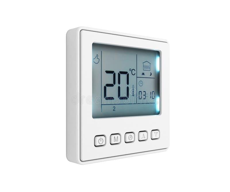 Thermostat programmable de Digital d'isolement sur le fond blanc 3d pour rendre sans ombre illustration stock