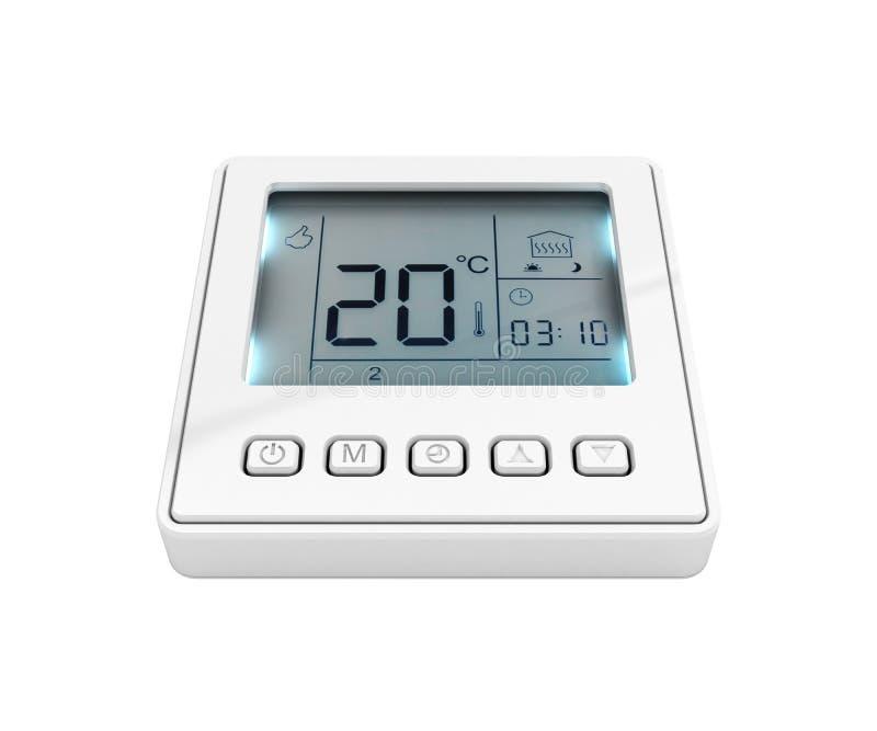 Thermostat programmable de Digital d'isolement sur le fond blanc 3d pour rendre sans ombre illustration de vecteur