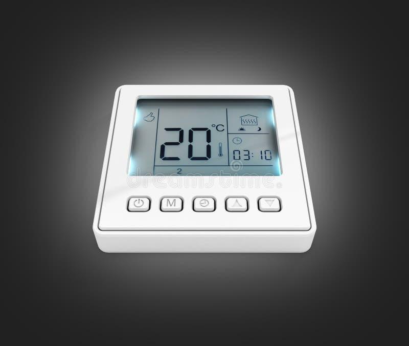 Thermostat programmable de Digital d'isolement sur le fond noir 3d de gradient pour rendre illustration stock