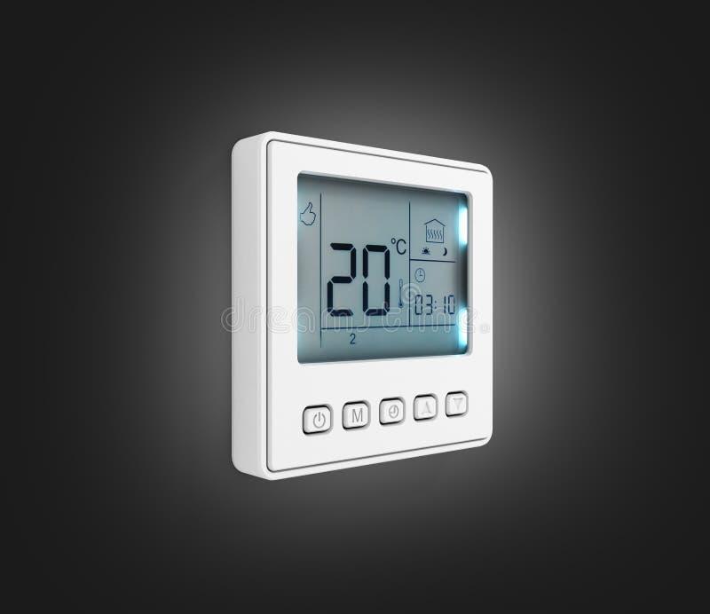 Thermostat programmable de Digital d'isolement sur le fond noir 3d de gradient pour rendre illustration libre de droits