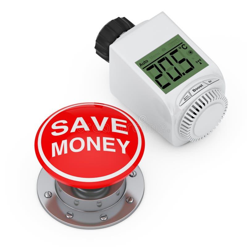Thermostatic knopp Valvenear Digital för trådlöst element för röd knapp med räddningpengartecknet framförande 3d royaltyfri illustrationer