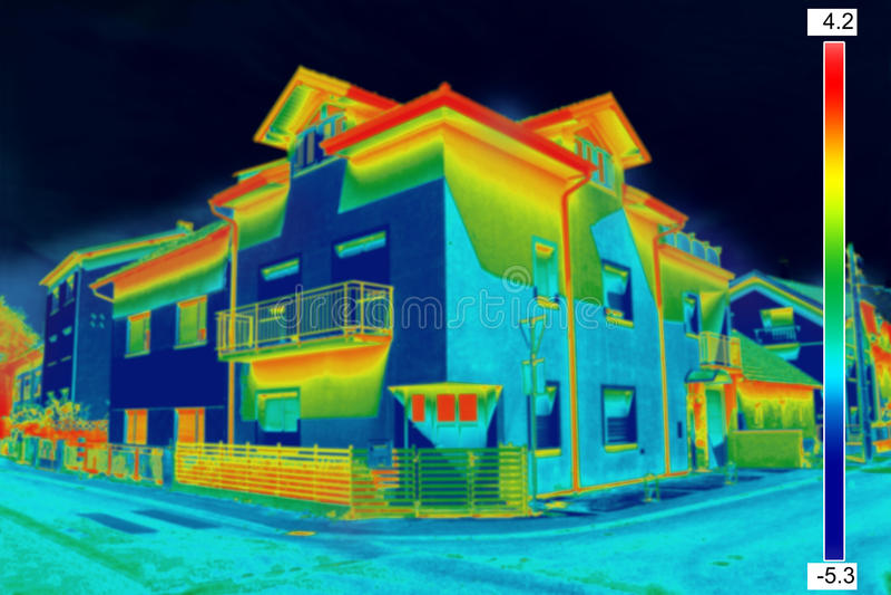 Thermovision wizerunek na domu obrazy royalty free