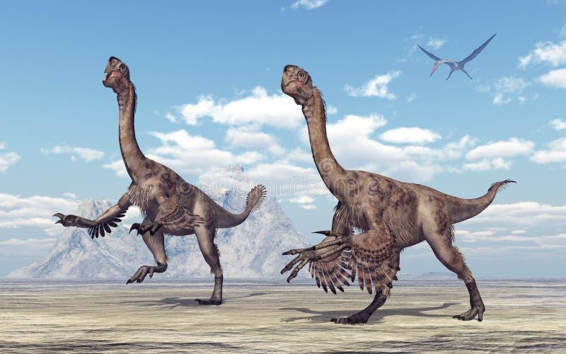 Theropoddinosaurie Citipati stock illustrationer