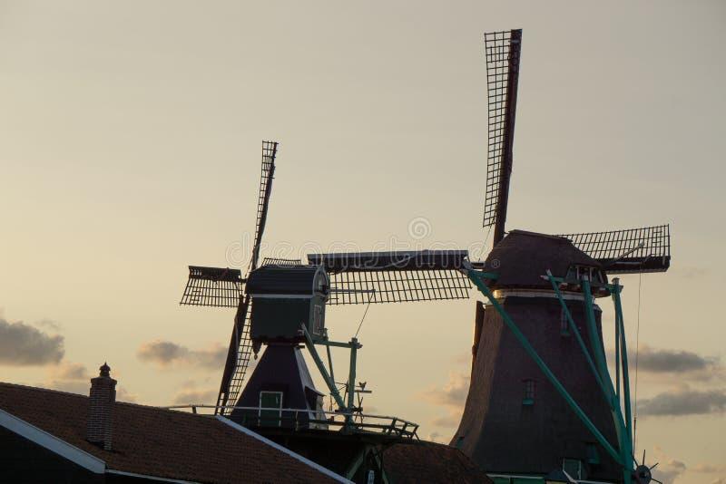 Dutch windmills at the Zaanse Schans in the netherlands stock photo