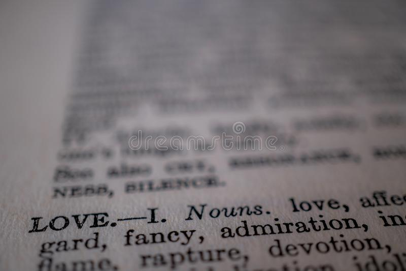 A closeup of the word love stock image