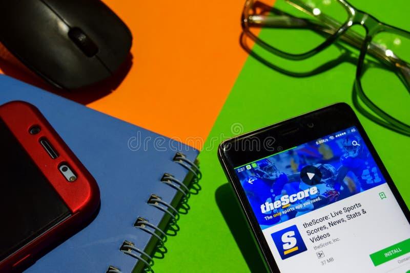 TheScore: Live Sports-scores, Nieuws, Stats & Video's dev app op Smartphone-het scherm stock fotografie