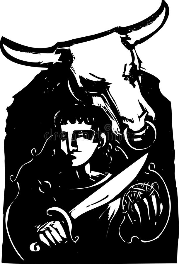 Download Theseus and the Minotaur stock vector. Image of myth - 32037398