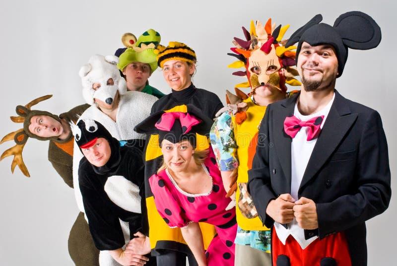 Thespians in kostuum stock afbeeldingen