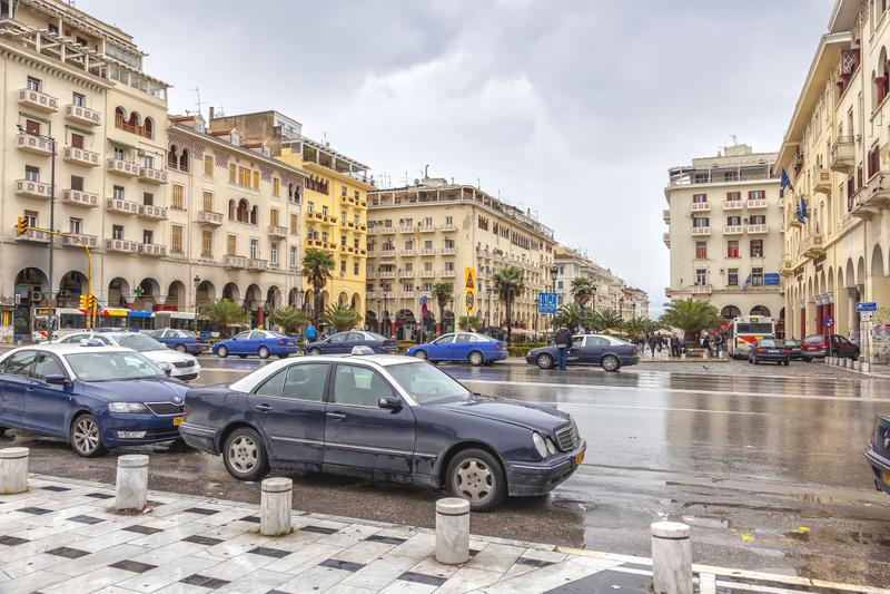 thessaloniki Улица Аристотеля в центре города стоковые фотографии rf