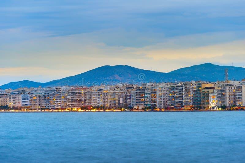 Thessaloniki de horizon van de waterkant, Griekenland royalty-vrije stock afbeeldingen