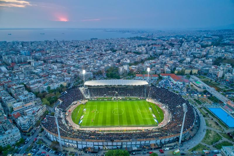 Aerial soot of the Toumba Stadium full of fans during a football match for the championship between teams PAOK vs Lamia stock photography
