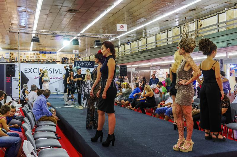 Thessaloniki, Greece Hair and fashion show inside 83rd International fair with crowd. Fair takes place from 8 to 16 September 2018. USA is the honored country royalty free stock photo