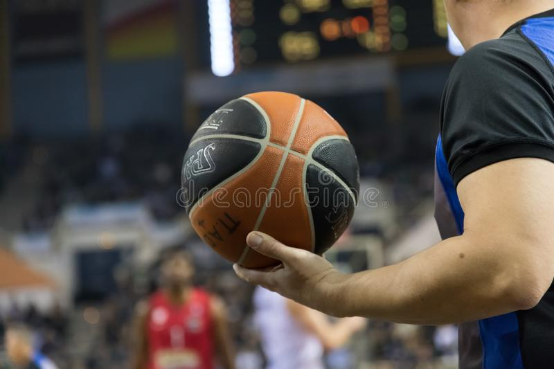 Greek Basket League game Paok vs Olympiacos. Thessaloniki, Greece, January 7, 2018: The ball is on the basketball court during the Greek Basket League game Paok stock photos