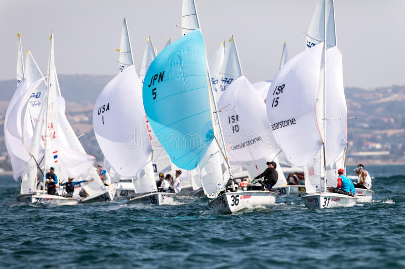 Athletes yachts in action during 2017 Men's 470 World Champion. Thessaloniki, Greece - July 12, 2017: Athletes yachts in action during 2017 Men's 470 World stock photos