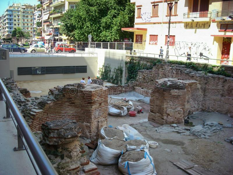Thessaloniki, Greece - June 07 2014 : archaeological digging site monument in center of Thessaloniki City, Greece. stock photo
