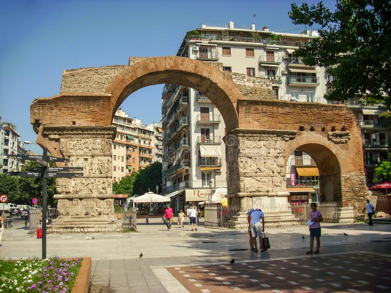 Thessaloniki, Greece - June 07 2014 : tourist visiting Arch of Galerius 298 � 299 AD in Thessaloniki City, Greece. royalty free stock images
