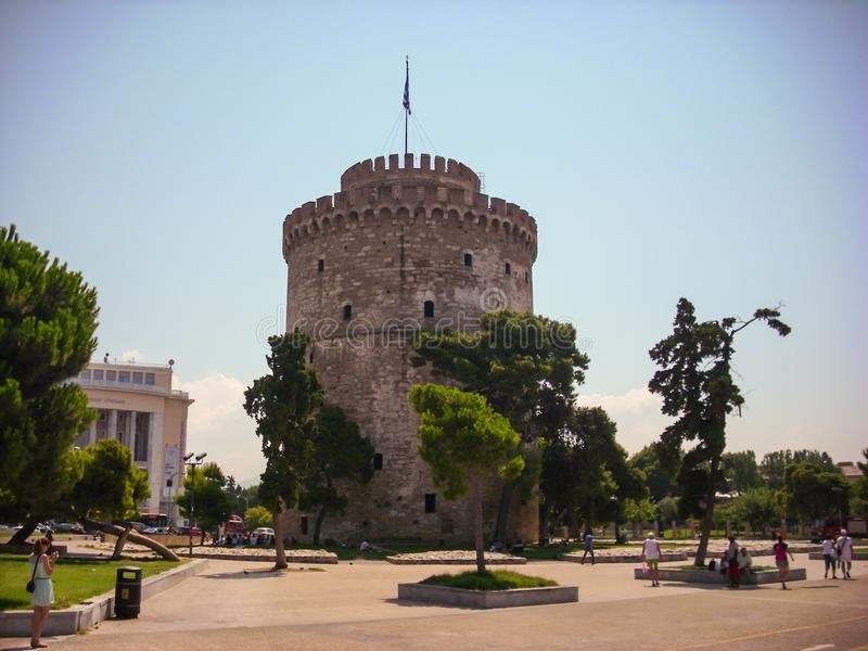 Thessaloniki, Greece - June 07 2014 : tourist visiting The White Tower in Thessaloniki City, Greece. royalty free stock photos