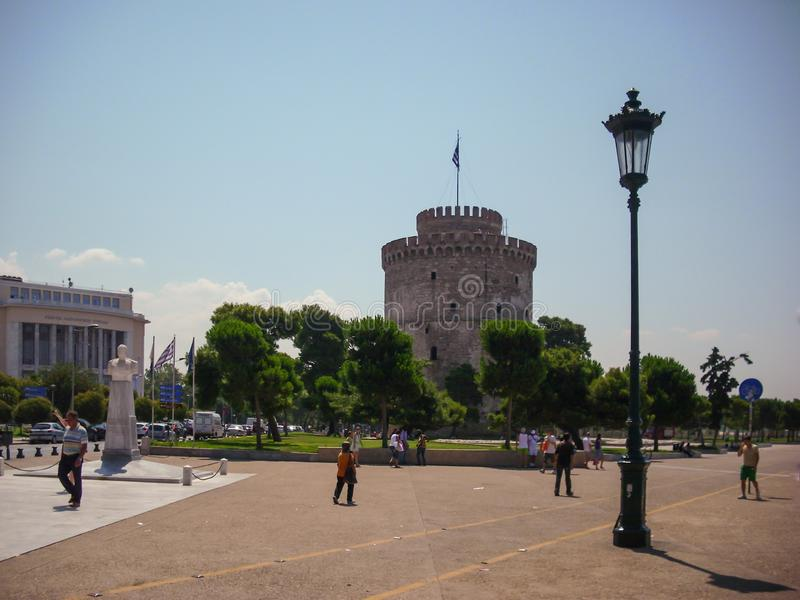 Thessaloniki, Greece - June 07 2014 : tourist visiting The White Tower in Thessaloniki City, Greece. royalty free stock photo