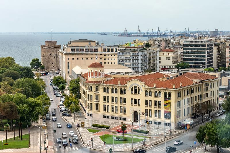View panorama of Thessaloniki from OTE Tower. royalty free stock photo
