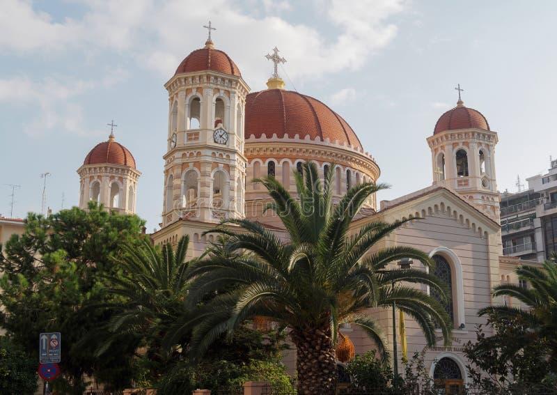 Thessaloniki, Greece Metropolitan Orthodox Temple of Saint Gregory Palamas. The Metropolitan church located at the center of the city on Mitropoleos street was stock photos