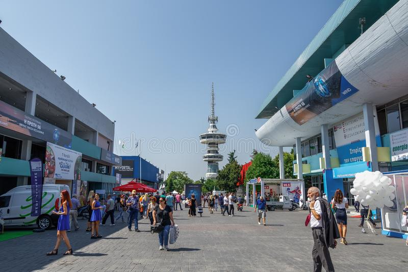 Thessaloniki, Greece nside 84rth International fair pavilions with crowd stock image