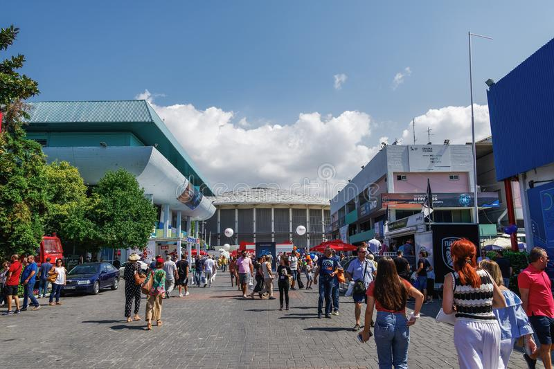 Thessaloniki, Greece nside 84rth International fair pavilions with crowd royalty free stock photos
