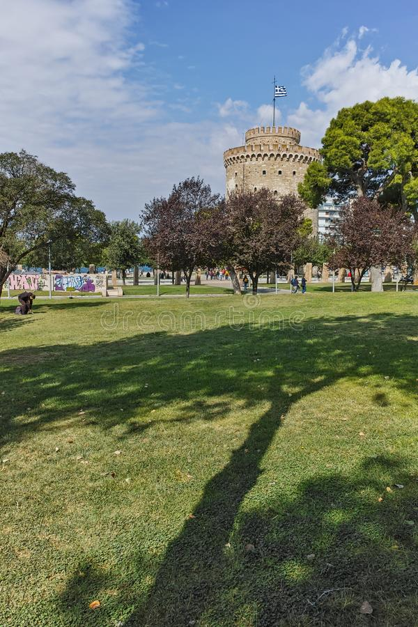 THESSALONIKI, GREECE - SEPTEMBER 30, 2017: Amazing view of White Tower in city of Thessaloniki, Central Macedonia stock photos