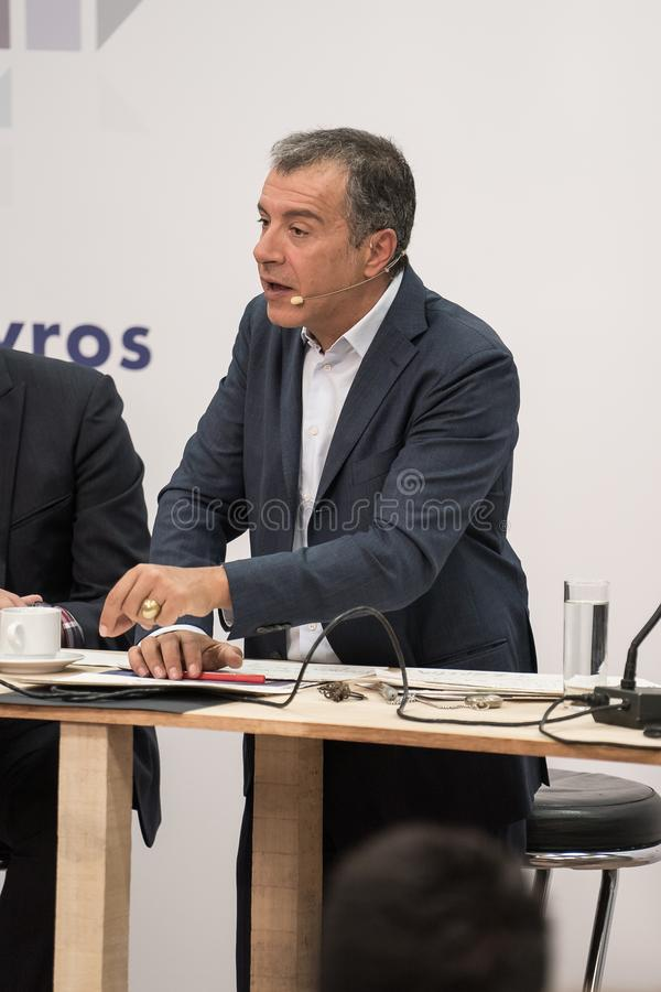 THESSALONIKI, GREECE - SEPTEMBER 13, 2017. Greek Leader of political party Potami Stavros Theodorakis and his team royalty free stock photo