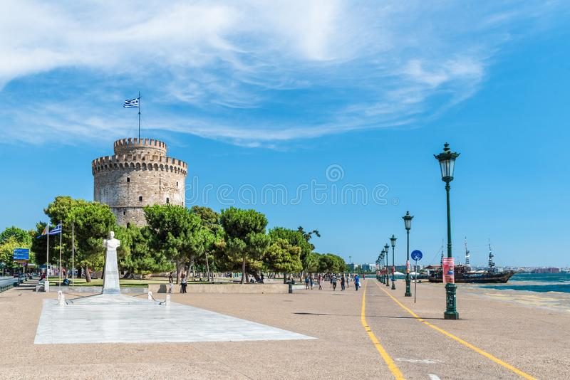 White tower of Thessaloniki, coastal city in Greece stock photography