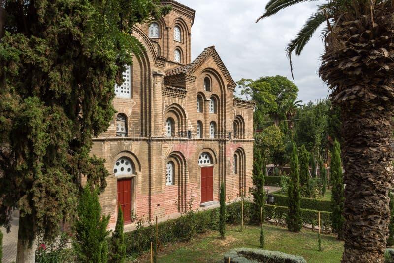 THESSALONIKI GREKLAND - SEPTEMBER 30, 2017: Forntida bysantinsk kyrka av Panagia Chalkeon i mitten av staden av Thessaloniki, Cen royaltyfri bild