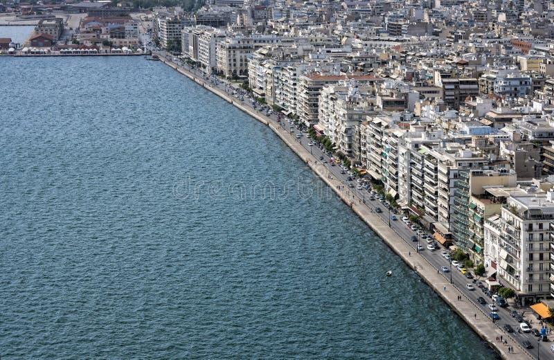 Thessaloniki, Griekenland, luchtmening van de waterkant stock afbeelding