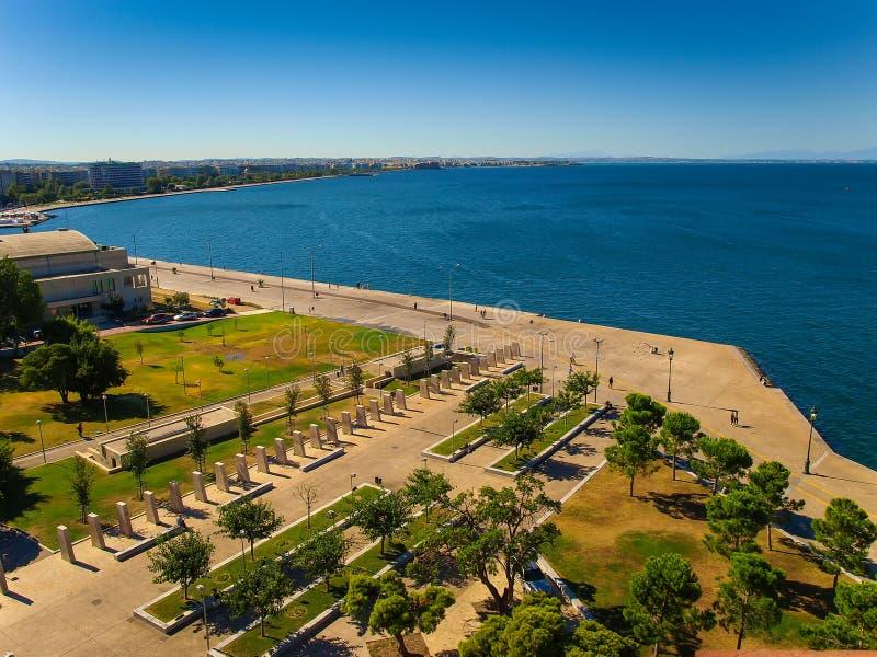 Thessaloniki, Griekenland - Panorama van de Stad van de Witte Toren royalty-vrije stock foto's