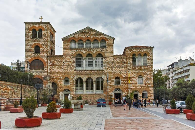 THESSALONIKI, GRIEKENLAND - SEPTEMBER 30, 2017: Oude Byzantijnse Kerk van Heilige Demetrius in het centrum van stad van Thessalon stock afbeeldingen