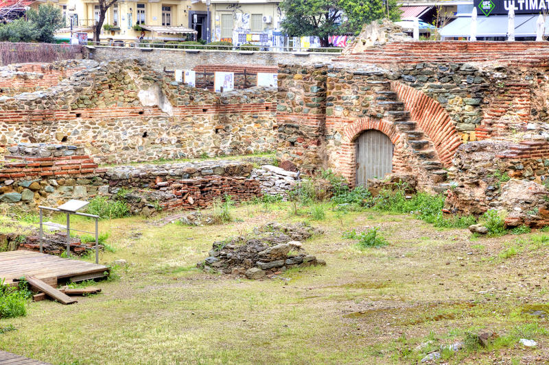 thessaloniki Oud Roman Forum of Agora stock foto