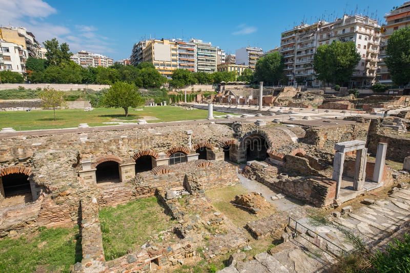 Thessaloniki Roman Forum Macedonië, Griekenland stock afbeeldingen