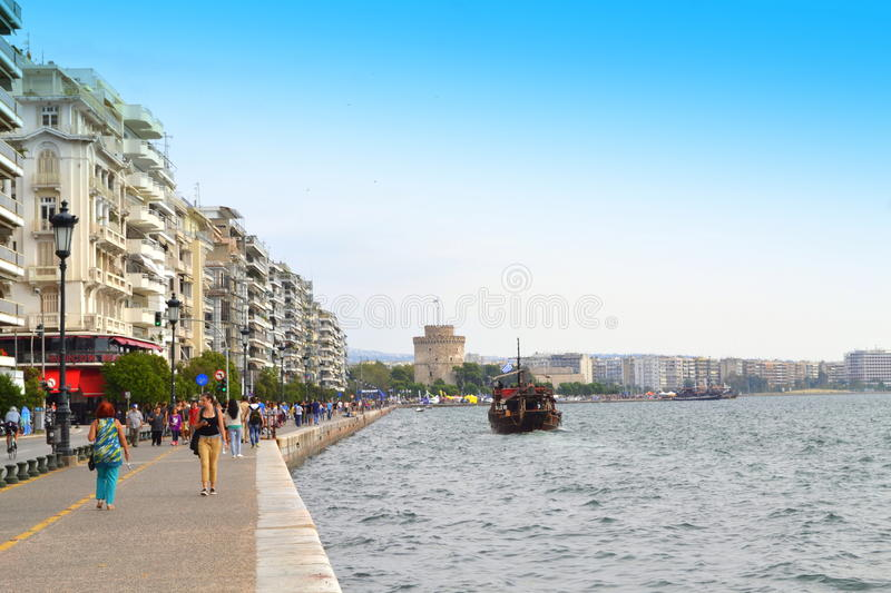 Thessaloniki seafront panoramic view. Thessaloniki is the 2014 European Youth Capital.For 2013 National Geographic Magazine included Thessaloniki in its top royalty free stock photo