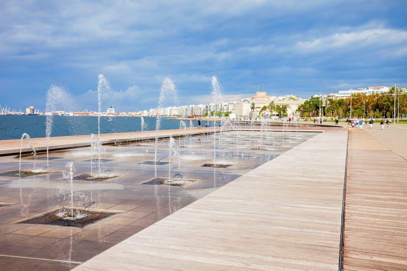 Thessaloniki strandboulevard, Griekenland stock afbeeldingen