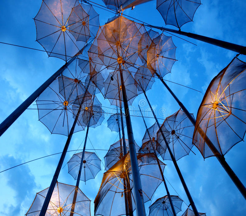 Thessaloniki Umbrellas in the evening royalty free stock image