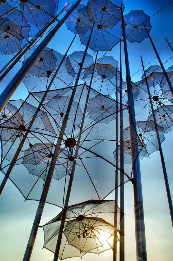 Thessaloniki Umbrellas, Greece. Iconic umbrellas of Thessaloniki, Greece at sunset stock photos