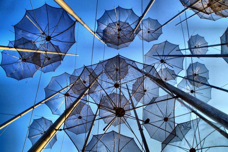 Thessaloniki Umbrellas, Greece. Iconic umbrellas of Thessaloniki, Greece at sunset royalty free stock images