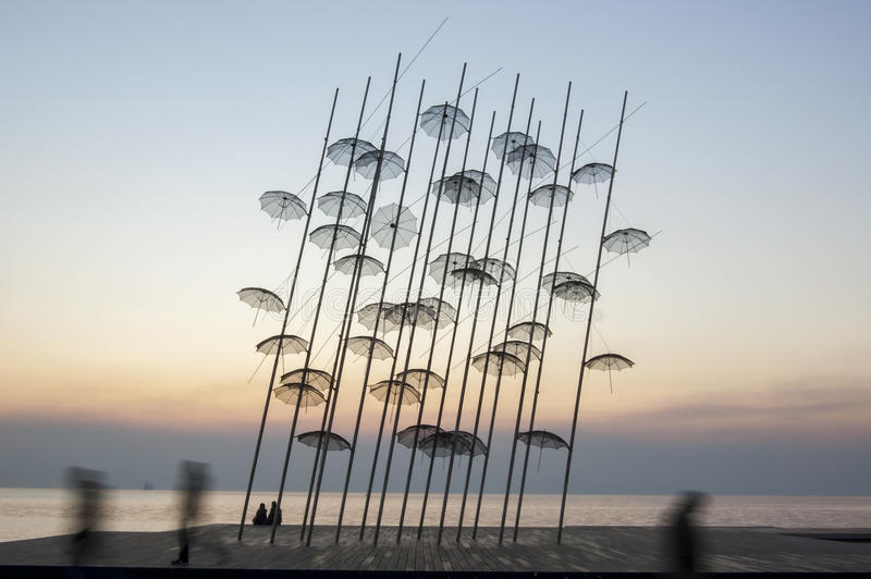Thessaloniki Umbrellas sculpture stock photo